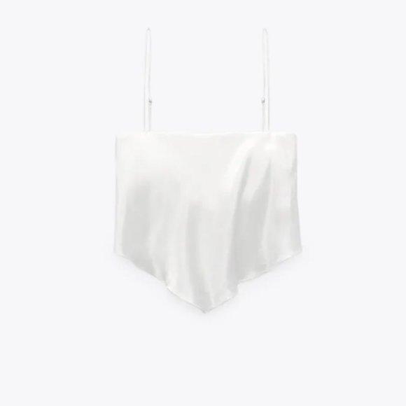Zara White Satin Cropped Tank Top